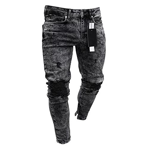 WFEI Herren Jeans Distressed Biker Jeans Hose Herren Slim Fit Stretch Jeans Stilvolle Denim Baumwolle Hose Reißverschluss Jeans Gr. M, Schwarz