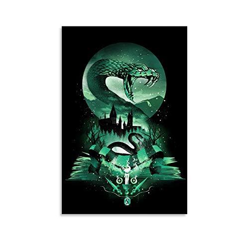 Poster auf Leinwand, Motiv Buch von Slytherin 2, modernes Design, 20 x 30 cm