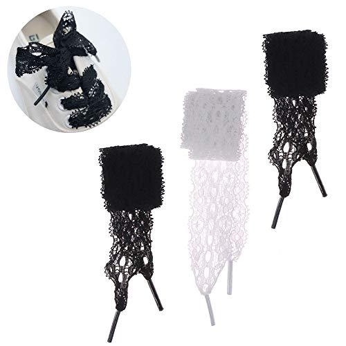 maxgoods 3 Paar Schnürsenkel 3 cm breit und 100 cm weich Länge Flache Spitzenbänder für Frauen