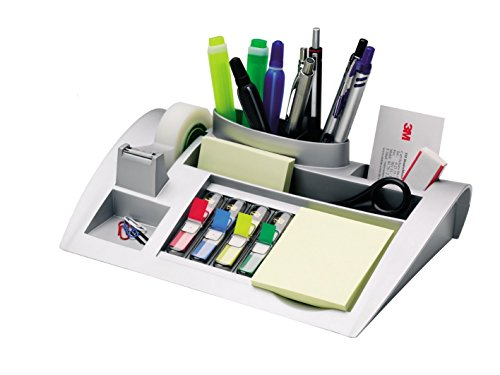 Post-it C50 Organizer da scrivania con Post-it Notes, segnapagina Post-it Index e nastro Scotch Magic 810 | Portaoggetti scrivania con accessori | Dimensioni 26,5 cm x 16,8 cm x 6,8 cm, colore argento