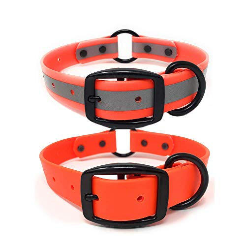 Orange Reflective Waterproof Hunting Dog Collar with Heavy Duty Center Ring | for Small and Medium Dogs and Puppies (Orange Reflective, Medium (fits 13 inch to 19 inch Neck))