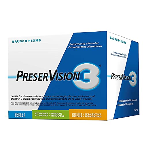 Suplemento Vitamínico Preservision 3 - Caja de 180 Cápsulas - Protección de las Células y Mantenimiento de la Visión en Condiciones Normales - Pastillas Vitamínicas - Bausch + Lomb