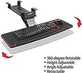 EUREKA ERGONOMIC Fully Adjustable Keyboard Drawers & Platforms Tray, Rotatable Gaming Computer Desk Mount Drawer Underdesk Shelf Workspace Organizers, Black