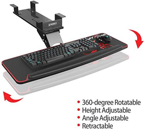 EUREKA ERGONOMIC Tastaturauszug Verstellbar Tastaturhalterung Schwenkbar Tastaturschublade mit Mauspad Tastaturablage für Büro Schreibtisch Gaming Tisch Schwarz