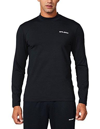 BALEAF Men's Thermal Fleece Long Sleeve Indoor Fitted Mock Shirt Black Size M