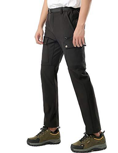 DENGBOSN Herren Wanderhose Wasserdicht Softshellhose Outdoorhose Winddicht Warm Gefüttert Winter Trekkinghose (M, C Schwarz)
