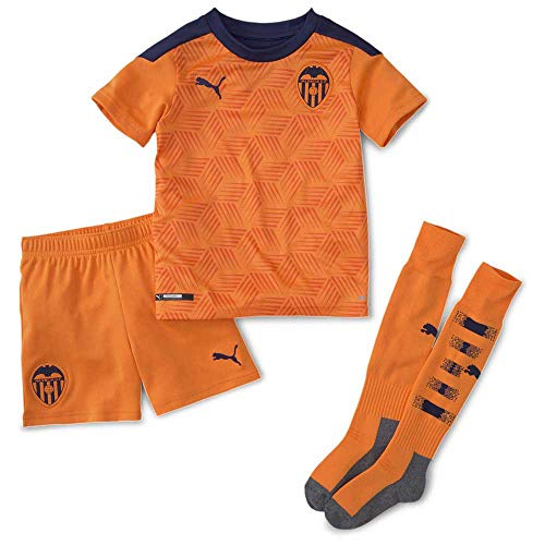 PUMA Valencia CF Temporada 2020/21-Away Minikit Vibrant Orange-Peacoat Camiseta Segunda Equipación, Niño, Naranja, 104