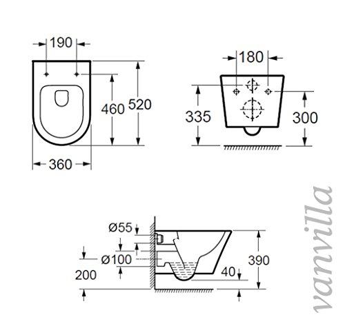 vanvilla Design Hänge WC Spülrandlos rimless + Hänge Bidet SET Luanda, inklusive Soft-Close - 3