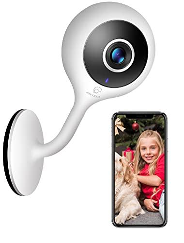 Telecamera Wi-Fi Interno IP, ANTELA 1080P Videocamera Sorveglianza, Movimento Umano & Visione Notturna, Allarme di Suoni Anormali, Rotazione a 360°, Audio a 2 Canali Compatibile con Alexa Google