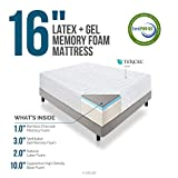 LUCID 16 Inch Plush Gel Memory Foam and Latex Four-Layer-Infused with Bamboo Charcoal Mattress, Twin XL + LUCID Encasement Mattress Protector