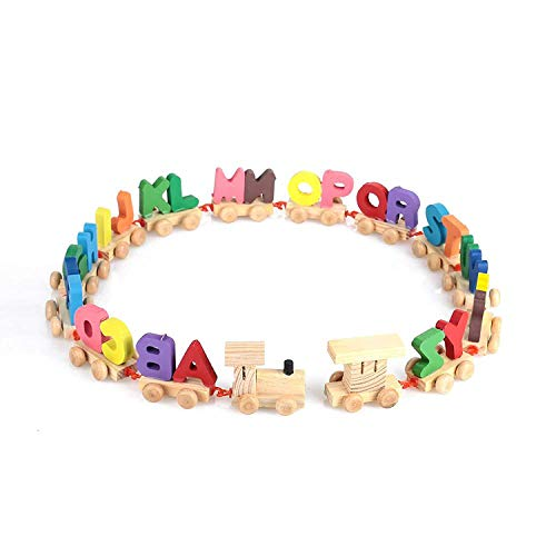 CrazyCrafts Crazy Crafts Wooden Alphabet Letters Train (A-Z) English Vocabulary Building Train Set Early Educational Toys Kids 2+ Years for Boys & Girls AZ01