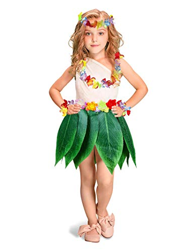 Kids Hula Skirt Hibiscus Flower Leis Luau Party Supply Girls Lilo Costume
