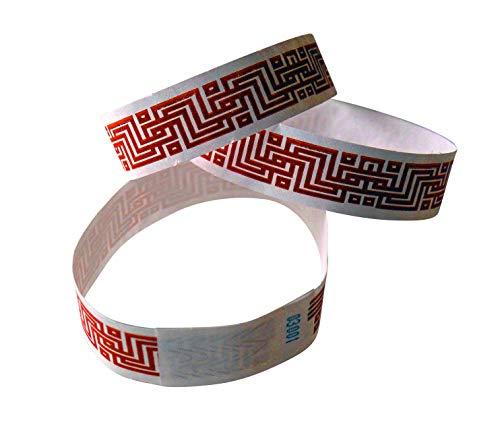100 pulseras de control Tyvek con estampado de pipes, laberinto (rojo)