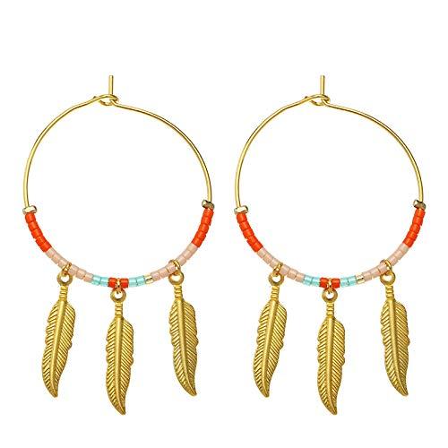 Yehwang Opgericht 2008 Premium Design dames modesieraad - gouden oorbellen met parels en veerhanger - roestvrij staal - nikkelvrij - bonte veren - oranje