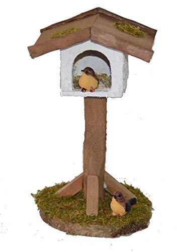 KLB Krippenzubehör Krippenstall Krippenset mit Vogelhäuschen und Zwei Vögeln