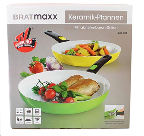 2x BRATmaxx Keramik Pfannen Set 2 teilig 1x Ø24cm & 1x Ø28cm   2-fache Keramikbeschichtung mit Abperl Effekt