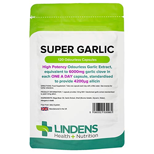 Lindens Super Garlic Odourless Capsules - High Strength 6000mg (4200mcg Allicin) - Contributes to Normal Muscle Function, Heart Health and Immune Health - 120 Capsules