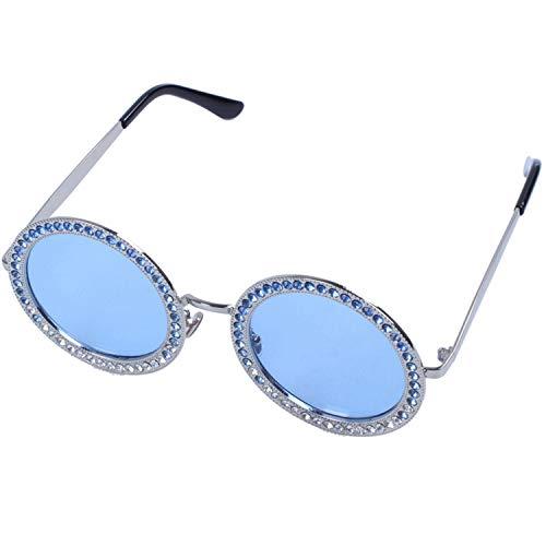 WOVELOT Gafas De Sol Redondas De Metal De Lujo Gafas De Sol Redondas Retro De Lujo para Mujer Negro Sombras De Diamante De Imitación Azul