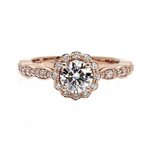 Jalash Genuine Moissanite 1.00 ct Halo Solitaire with Asscents Engagement Ring 14k Rose Gold Finished & Cz (7)