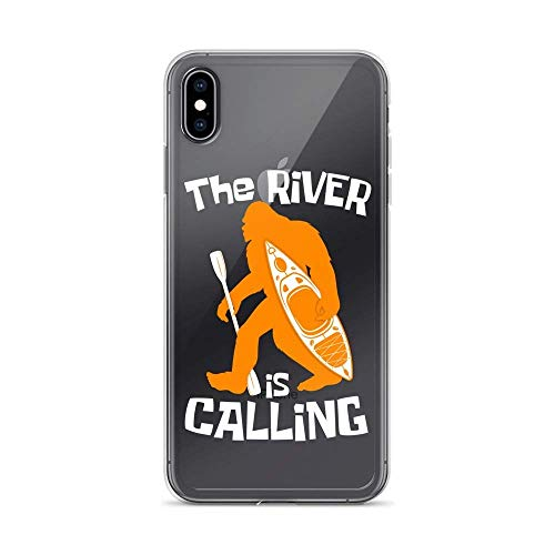 Carcasa transparente para iPhone Xs Max Pure Clear Case Cover Bigfoot Kayak The River is Calling Transparente