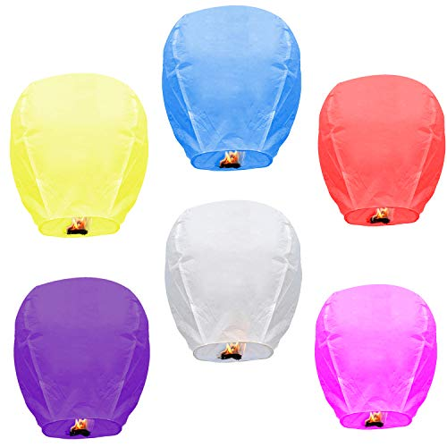 Sky Lanterns Multicolour 6 Pack Chinese Paper Lanterns Environmentally Friendly Lanterns for Weddings, Birthdays, Memorials and Much More