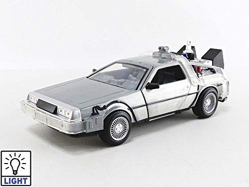 Jada Toys Back to The Future Part II Time Machine with Lights 1:24 Scale Die-Cast Collectible Vehicle, Brushed Metal Flying Version 31468