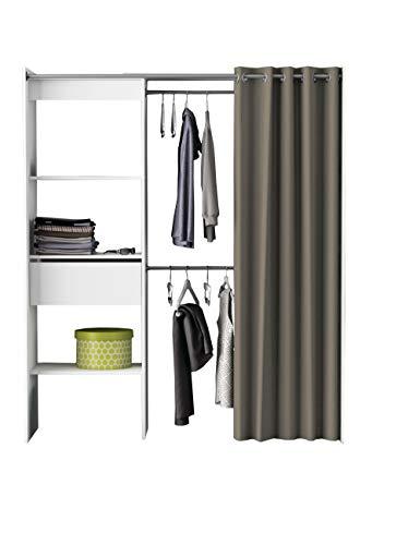 Kleiderschrank Cori mit Vorhang weiß B 169 cm Schrank Wäscheschrank Kinderzimmer Jugendzimmer Schlafzimmer Stoffschrank Vorhangschrank