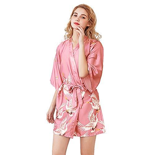 Albornoz Mujer Pava Corto de Satén Camisón Sexy Pijama Vestido Kimono Bata de Vestir túnica lencería Ropa de Noche Prenda Despedida de Soltera
