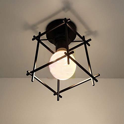 WFZRXFC Luz de techo de montaje semi empotrado cruzada con marco de hierro negro Lámpara de techo simple con base E27 Vintage cerca de la iluminación del techo para cocina Isla Lavadero Pasillo Porche