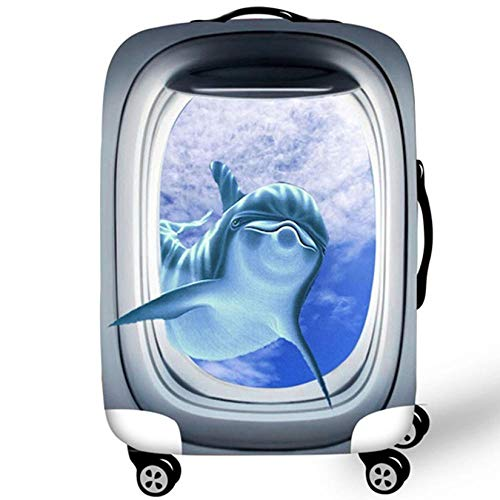 3D Print Animal Design Travel Luggage Protector Suitcase Cover by MukMok 18'-32' Suitcase Dust Cover-Dolphin XL (29'-32')
