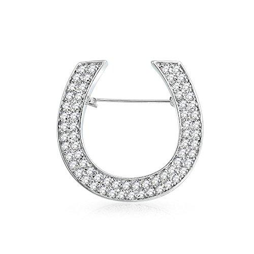 Bling Jewelry Gran Declaración De Moda Caballo Zirconia Cúbico CZ Bufanda Herradura Broche para Mujer De Latón Chapado En Plata