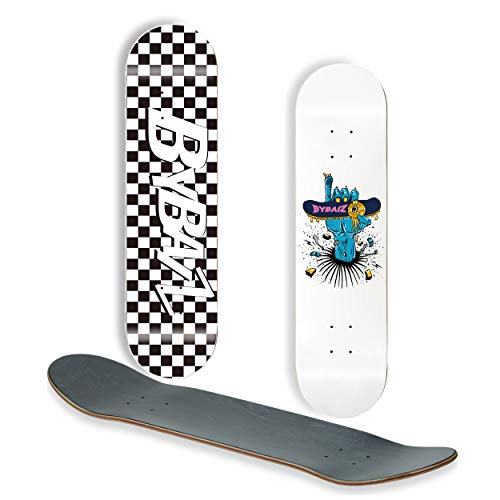 BYBAIZ Purer North America 7 Ply Maple Wood Skateboard Decks Anime Logo Graphic Blue/White Natural Boards(Set of 1 Deck only)(Hand of Hell 8.00inch)
