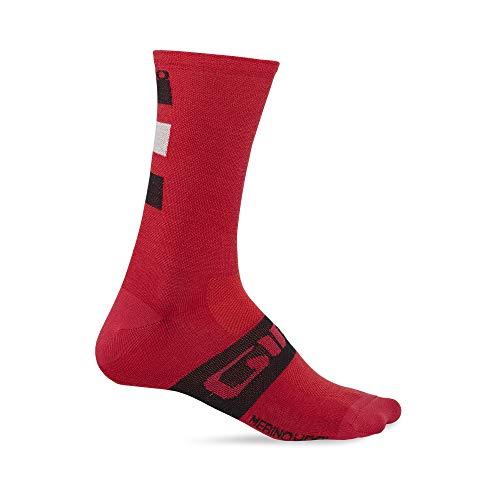 Giro Seasonal Merino Wool, Calzini Uomo, Dark Red/Black/Grey, M