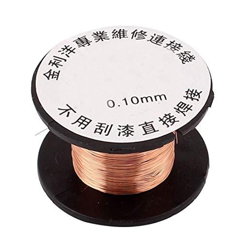 LUOERPI 1pc 15M / 49Ft Longitud 0.1 mm Diámetro Soldadura de Cobre Soldadura PPA Alambres de Soldadura de Alambre de Carrete de reparación esmaltados (Tamaño: 0.1 mm) (Size : 0.1mm)