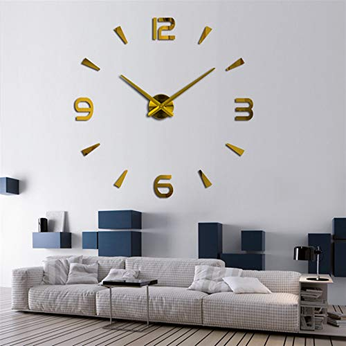 3D creative living room bedroom sofa background Large Home Wall Clock 3D DIY Clock Acrylic Mirror Stickers Home Decoration Living Room Quartz Needle Self Adhesive Hanging Watch DIY wall decoration