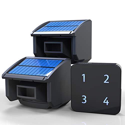 Solar Driveway Alarm System-1/4 Mile Long Transmission Range-Solar Powered No Need Replace Batteries-Outdoor Weatherproof Motion Sensor&Detector DIY Security Alert-1 Receiver and 2 Sensors KIT