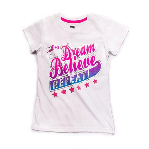 Hello Kitty Camiseta de Entrenamiento con Cuello Redondo para niñas, Niñas, T218B, Blanco, Size 6X