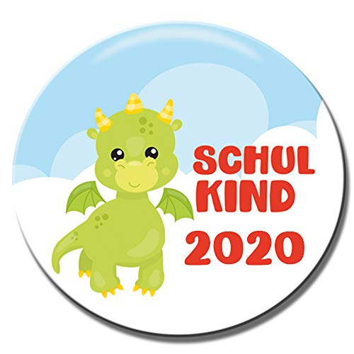 Polarkind Button Pin Anstecker Schulkinder 2020 Geschenk zum Schulanfang 38mm Handmade (Motiv: Drache)