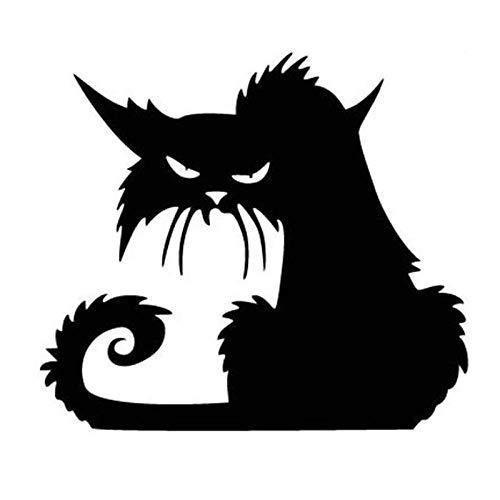 ZXiaoBai Adesivo per Auto|Sticker Scary Cat Car Sticker Cover Scratch Decal Laptop Truck Valigia Accessori per Auto da Moto Decorazione PVC 14cmx12cm-Nero