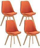 CLP Set De 4 Sillas De Comedor Linares En Terciopelo, Tela o Simil Cuero I 4 Sillas De Salón Nórdica Con Base De Madera, Color:naranja, material:Tela