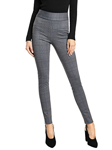 SweatyRocks Women's Casual High Waisted Ankle Plaid Pants Skinny Leggings, Grey #1, S