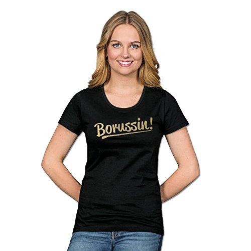 Borussia Dortmund T-Shirt für Damen, Schwarz, Baumwolle, S-3XL, Borussin!-Aufdruck, Glitzerdruck XXL