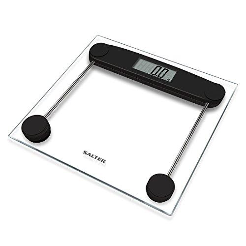 SALTER digitale Personenwaage, elektronische Waage aus gehärtetem Glas, Messung des Körpergewichts metrisch/imperial, leicht lesbares Display, präzise Ablesung in 50g Schritten