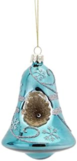 Melrose Matte Antique Blue Snowflake Bell Christmas Ornament 4