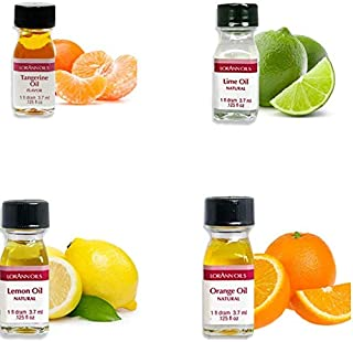 LorAnn Super Strength 4 pack Citrus Flavor Mix ( tangerine Oil, Lime Oil, Lemon Oil. Orange Oil) - 1 dram bottle (.0125 fl...
