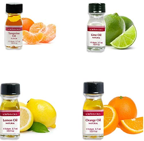 LorAnn Super Strength 4 pack Citrus Flavor Mix ( tangerine Oil, Lime Oil, Lemon Oil. Orange Oil) - 1 dram bottle (.0125 fl oz - 3.7ml) Bottles