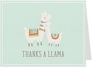 Llama Thank You Cards Baby Shower Thank You Cards Birthday Party Event Thanks Llama Mama Llamas Gender Neutral Unisex Baby New Baby Hello Baby Mint Brown Bohemian Thanks A Llama (50 count)