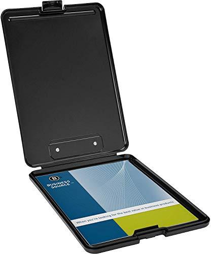 Business Source Plastic Storage Clipboard - Black - Letter-Size (37513) - 4 Pack (24)