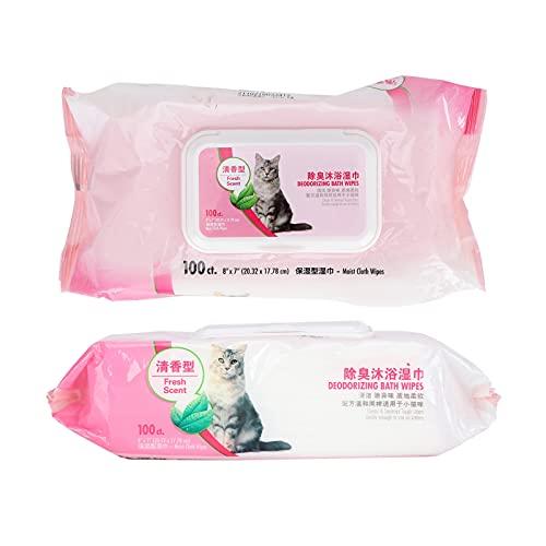 Toallitas para la preparación del animal doméstico, toallitas portátiles para mascotas suave apacible para los animales domésticos para la limpieza(Cat bath towel 100 pumps)
