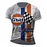 Camiseta Retro para Hombre, Camiseta de Gulf Motor Racing Oil, Camiseta de Motociclista, Camiseta de Manga Corta con Cuello Redondo